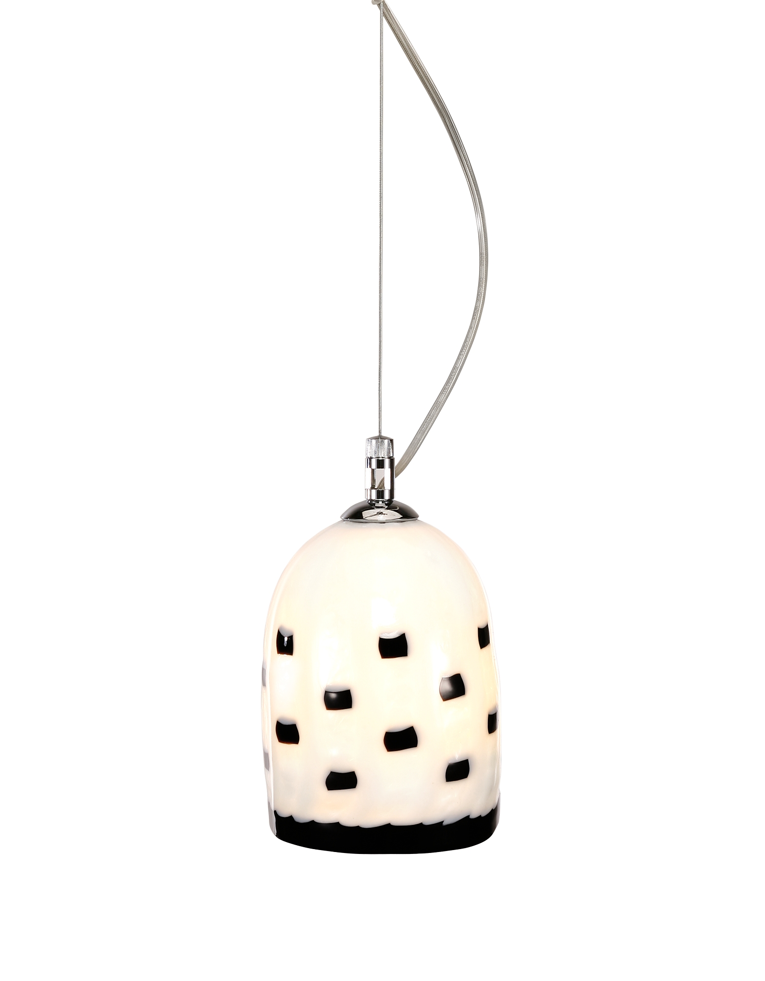 Voltolina Designer Decor & Lighting, Meg B & W - Black And White Murano Handmade Glass Pendant Lamp