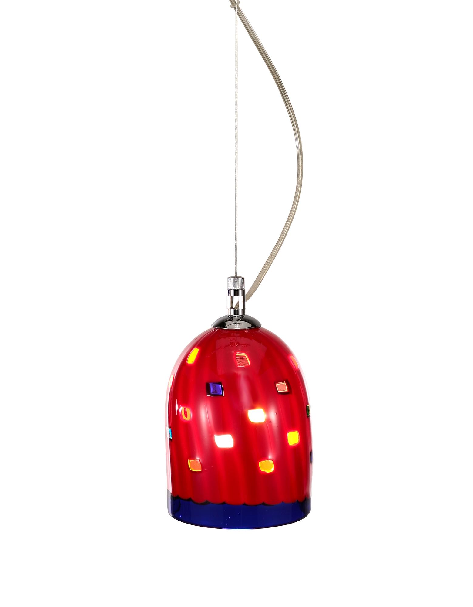 Voltolina Meg - Красный Абажур из Стекла Мурано, Изготовленный Вручную