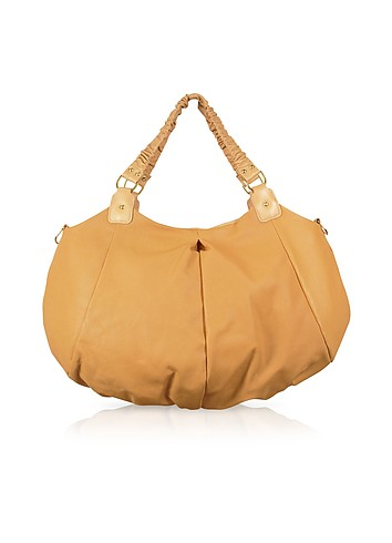 Vangi Camel Perforated Calf Leather Shopper Bag