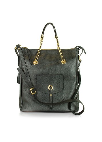 Vangi Front Pocket Grained Leather Tote Shoulder Bag