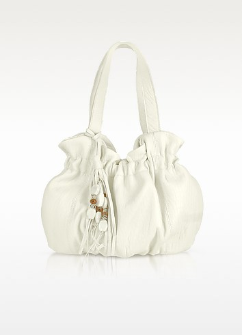 Grained Leather Double Handle Bucket Bag - Vangi