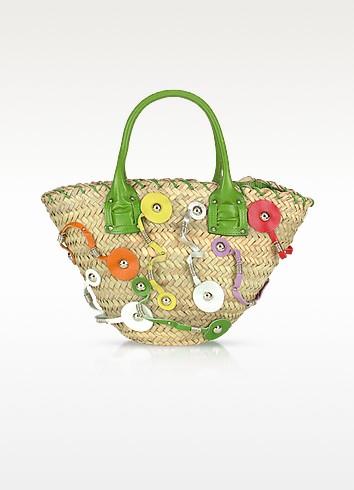 Straw and Leather Zippered Bucket Bag - Vangi
