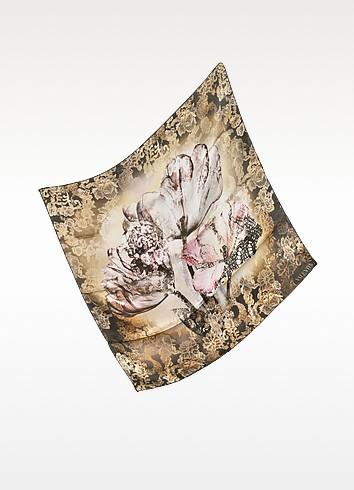Brown Floral Print Silk Square Scarf - Valentino