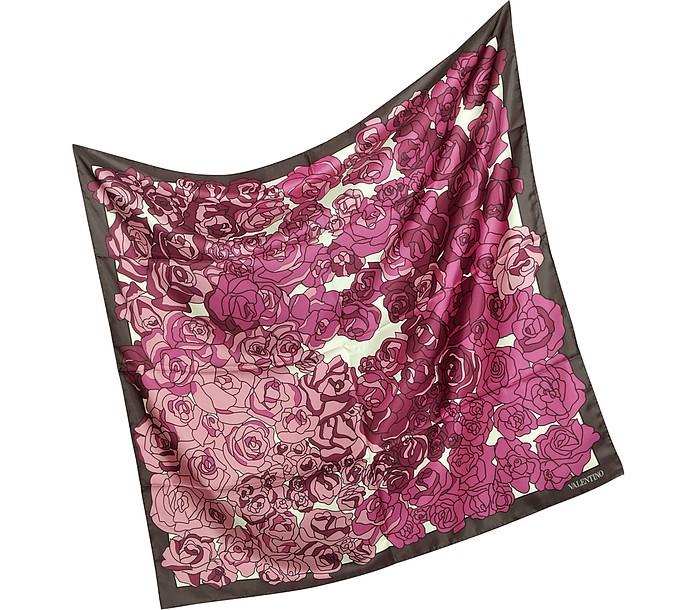 Floral Signature Silk Square Scarf - Valentino