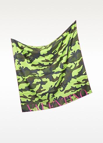 Camouflage Fluo Twill Silk Square Scarf - Valentino