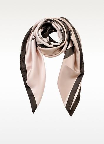 Rose Flower Print Silk Square Scarf - Valentino