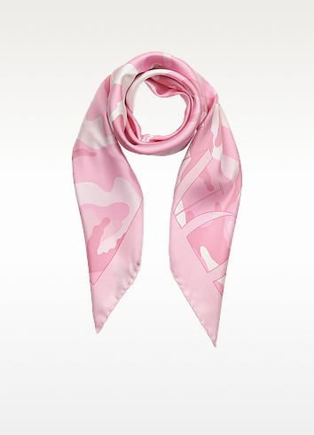 Ninphea Camouflage Print & Logo Silk Square Scarf - Valentino