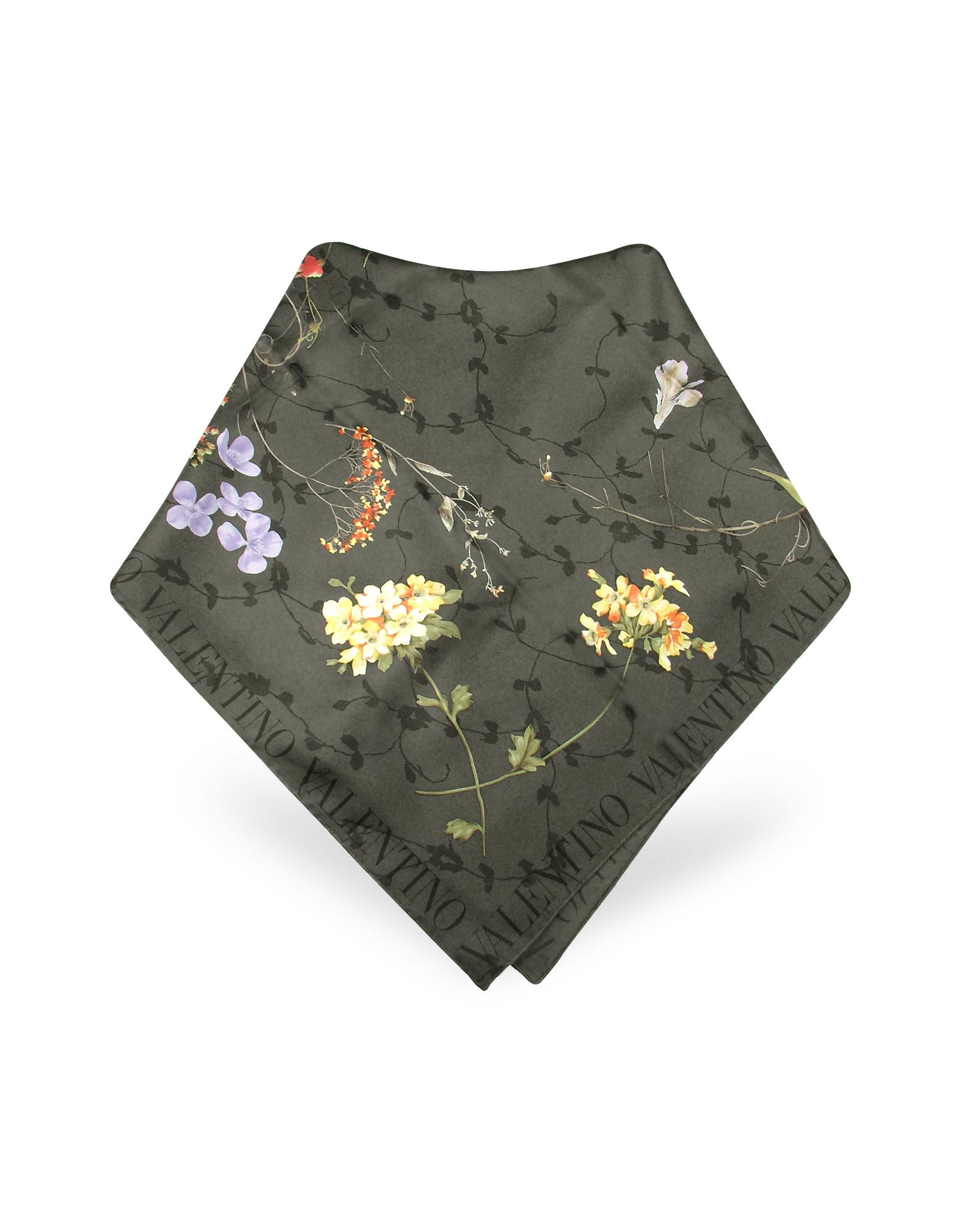 Valentino Garavani  Ornamental Floral Printed Silk Square Scarf