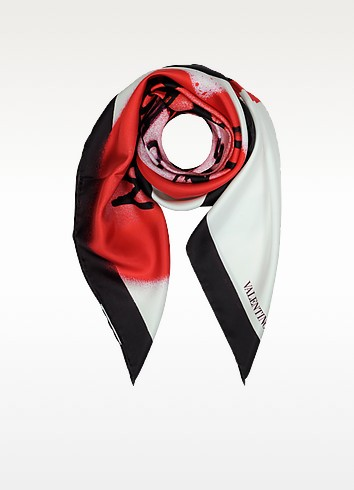 L'amour Foulard Ivory and Red Silk Print Square Scarf - Valentino