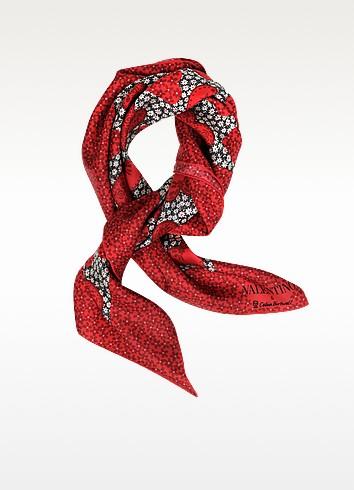 Red Camuhearts - Carré de Soie Impression Coeurs - Valentino