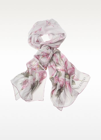 Pink Calla Lily Long Silk Scarf - Valentino