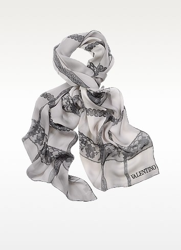 Signature Rose Long Silk Scarf - Valentino