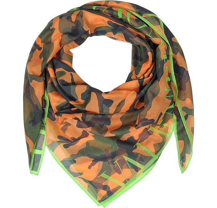 Camouflage Fluo Cotton Voile Wrap - Valentino