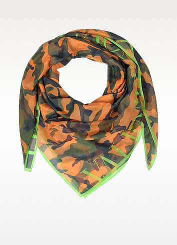 Camouflage Fluo Cotton Voile Wrap - Valentino