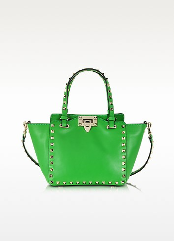 Rockstud Green Leather Mini Tote Bag - Valentino