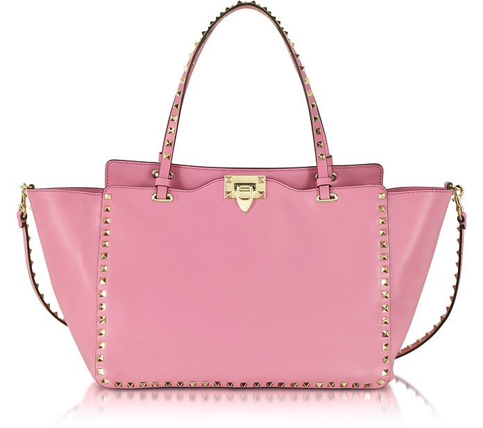 Rockstud Medium Ninphea Pink Leather Tote - Valentino
