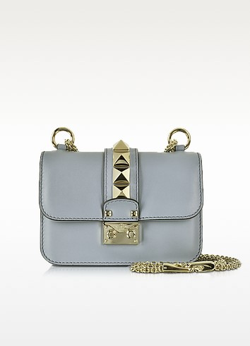 Grey Leather Mini Chain Crossbody Bag - Valentino