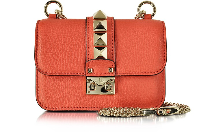 Deep Coral Textured Leather Mini Chain Crossbody Bag - Valentino