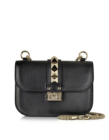Black Leather Small Chain Crossbody Bag