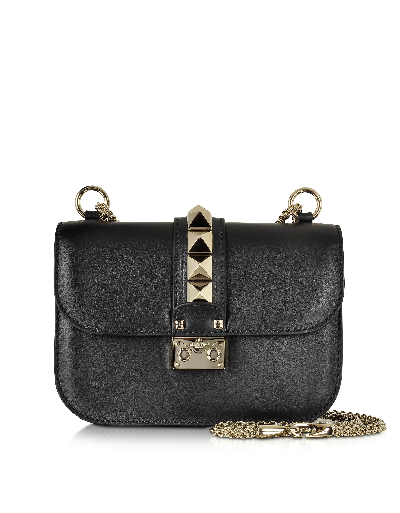 Valentino Handbags, Black Leather Small Chain Crossbody Bag