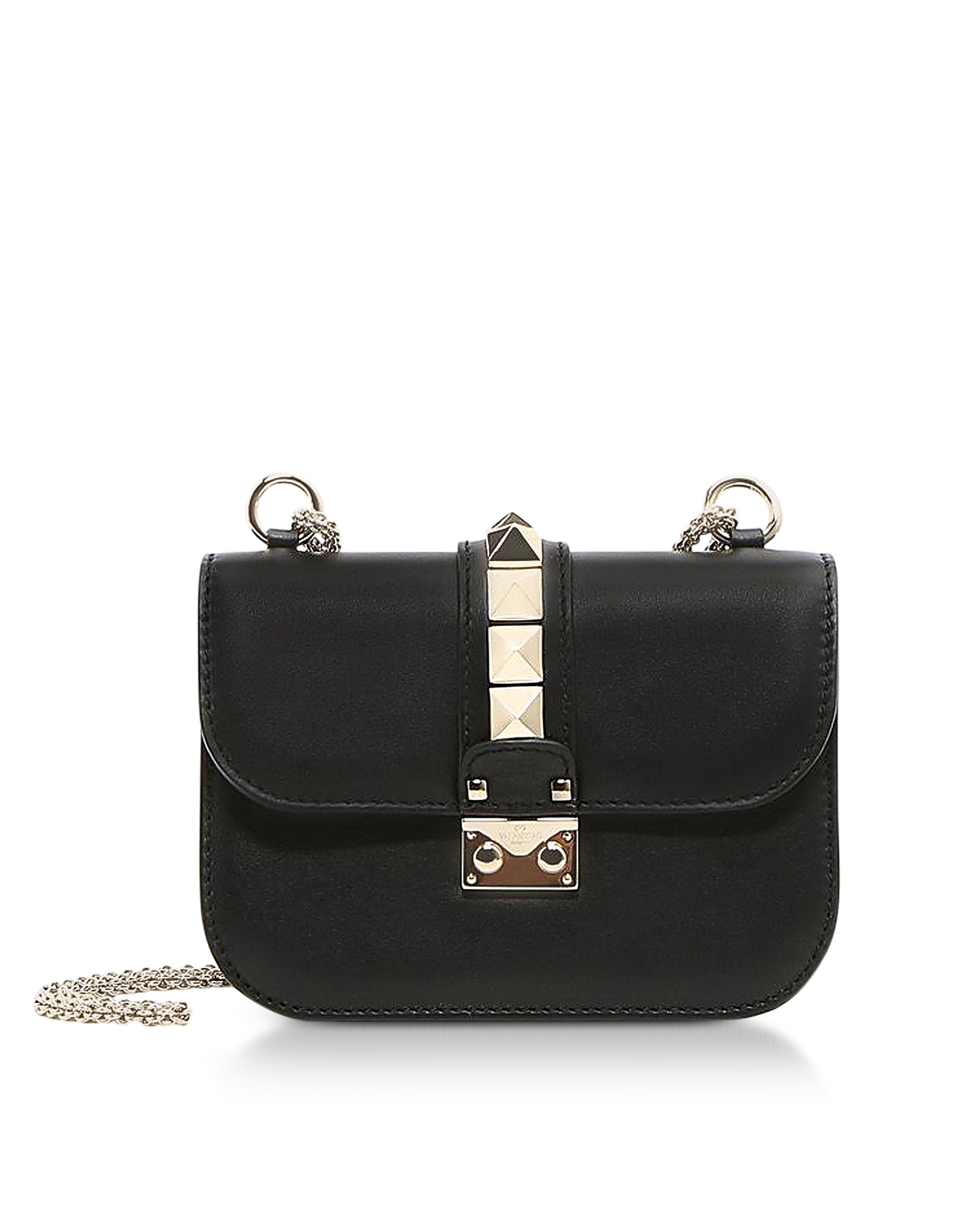 Valentino Handbags, Lock Small Black Leather Chain Shoulder Bag