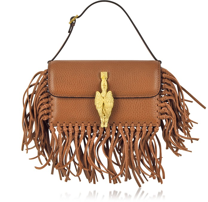 Gryphon Fringe Leather Flap Bag - Valentino