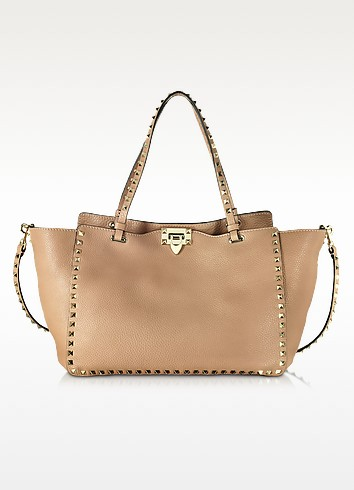 Rockstud Soft Noisette Leather Medium Tote - Valentino