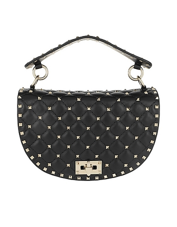 Rockstud Half Round Spike Crossbody Bag Black
