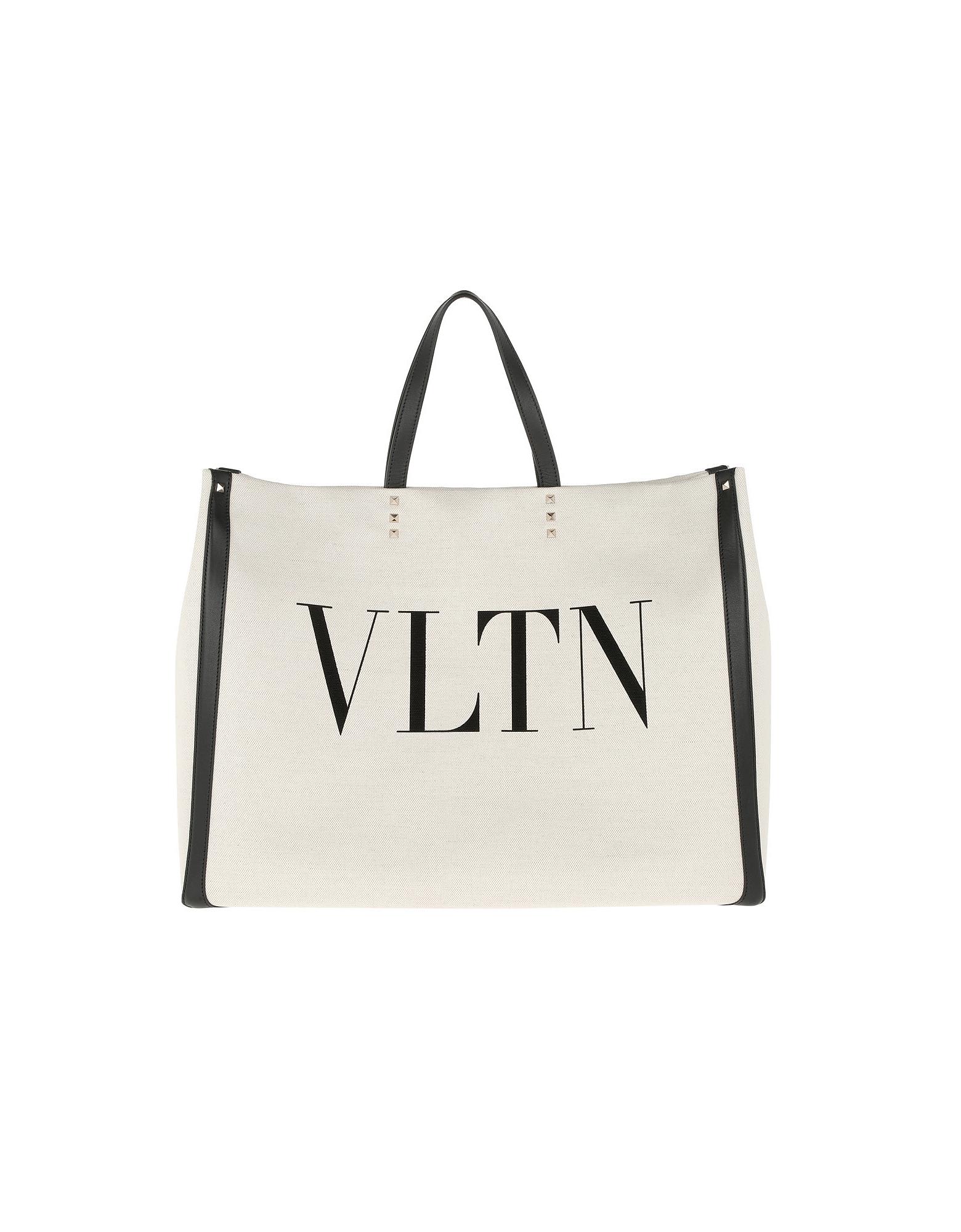 VLTN Canvas Shooing Bag Natural/Black/Black