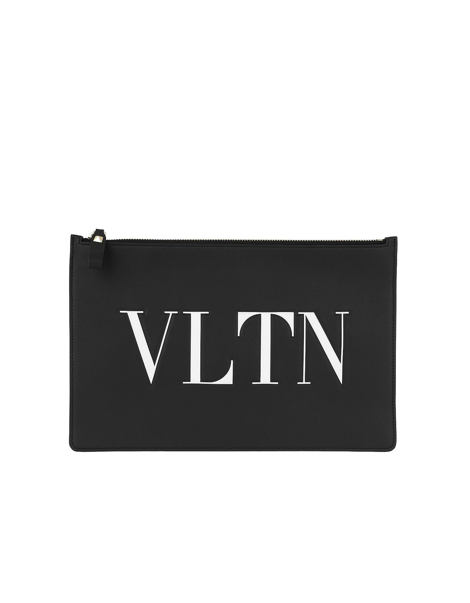 VLTN Pouchette Leather Black/White