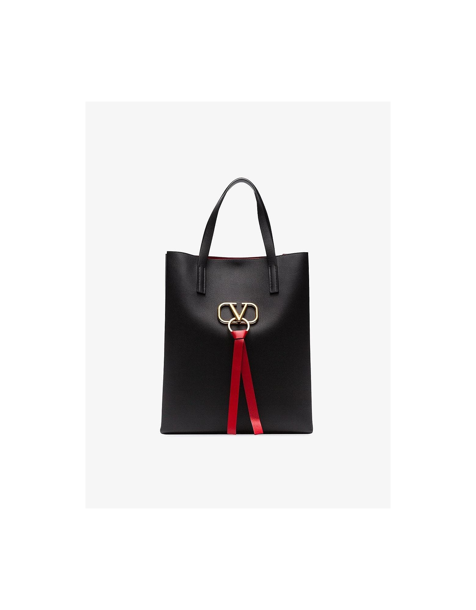 Valentino Designer Handbags, Black Garavani Vring Large Leather Tote Bag