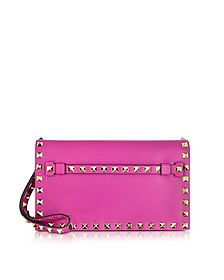 Rockstud Fuxia Leather Clutch - Valentino