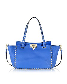 Rockstud Small Light Sapphire Leather Tote - Valentino