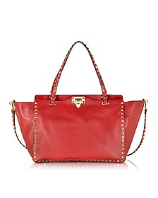 Rockstud Medium Rosso Leather Tote - Valentino
