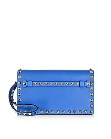 Rockstud Light Sapphire Leather Clutch - Valentino