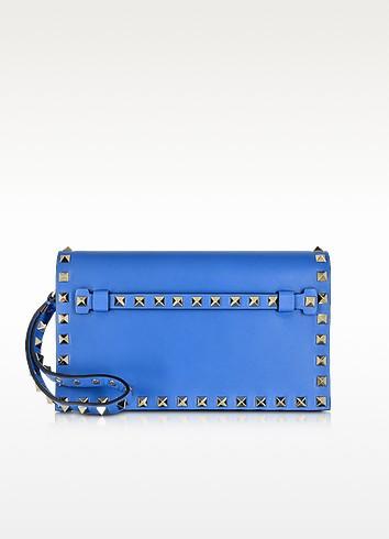 Rockstud Light Sapphire Leather Clutch - Valentino