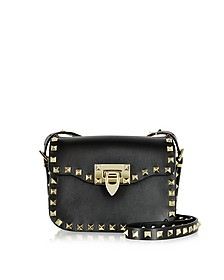 Rockstud Black Leather Small Shoulder Bag - Valentino