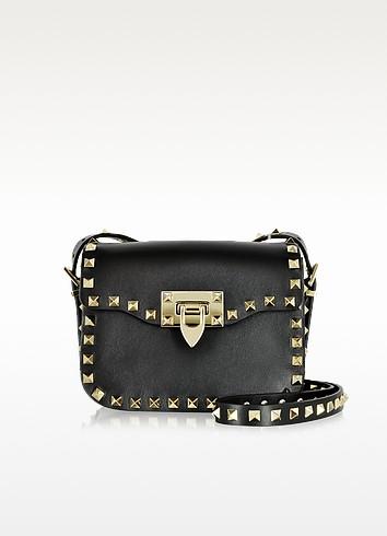 928967b6ee85 valentino garavani rockstud petit sac porté épaule en cuir noir avec clous