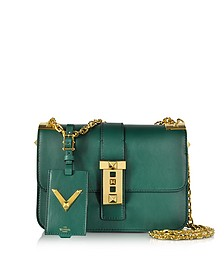 My Rockstud Smeraldo Leather Chain Shoulder Bag - Valentino