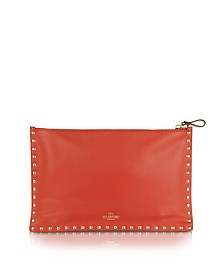 Rockstud Red Leather Flat Pouch - Valentino