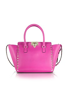 Rockstud Fuxia Leather Small Double Handle Bag - Valentino