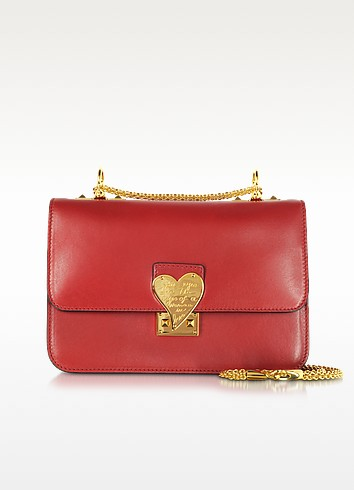 L'amour Valentino Red Leather Shoulder Bag - Valentino