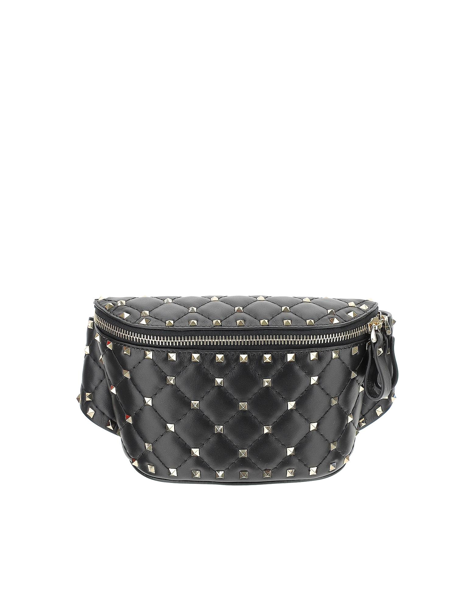 Valentino Designer Handbags, Black Rockstud Spike Belt Bag