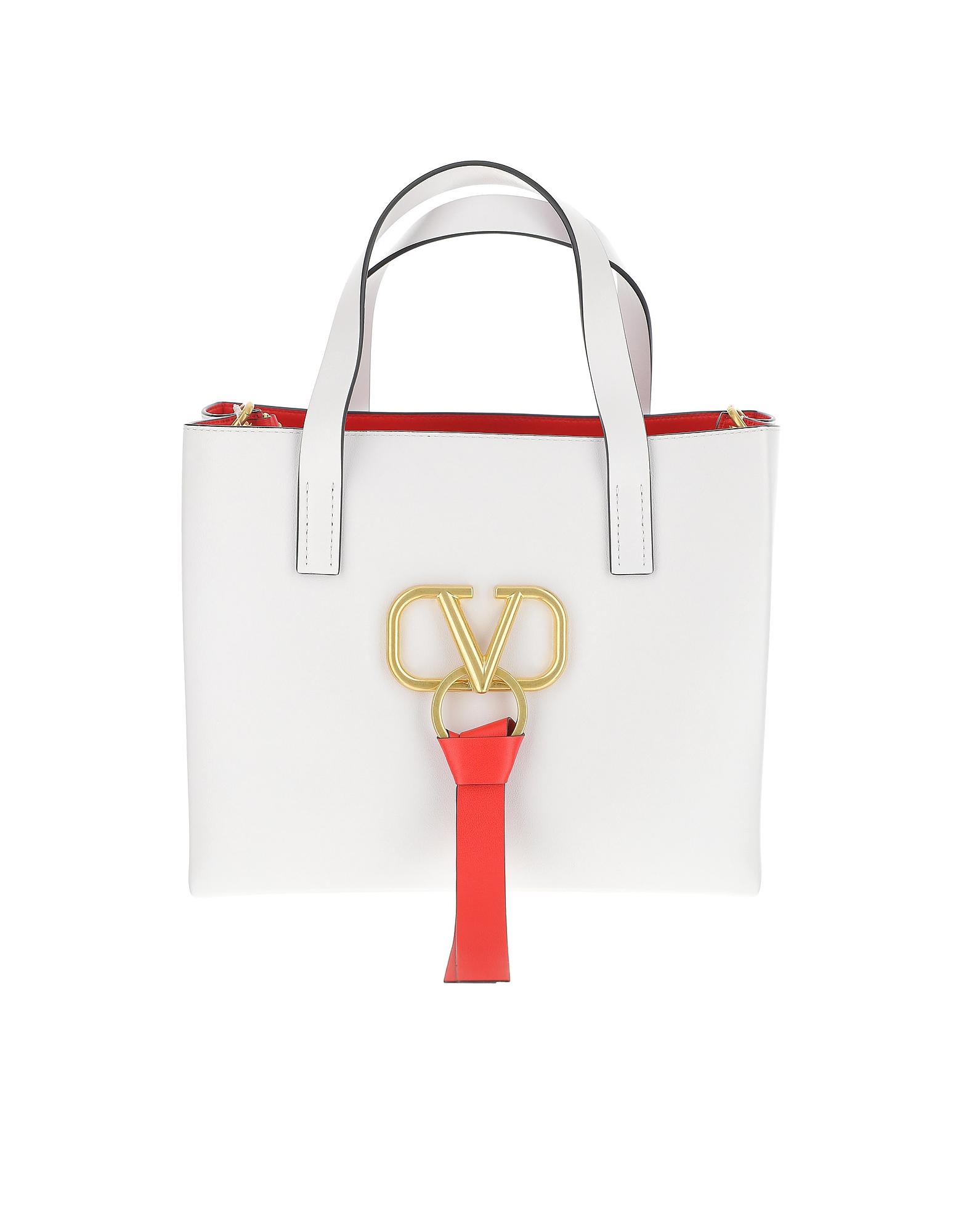 Valentino Designer Handbags, White VRing Leather Handbag