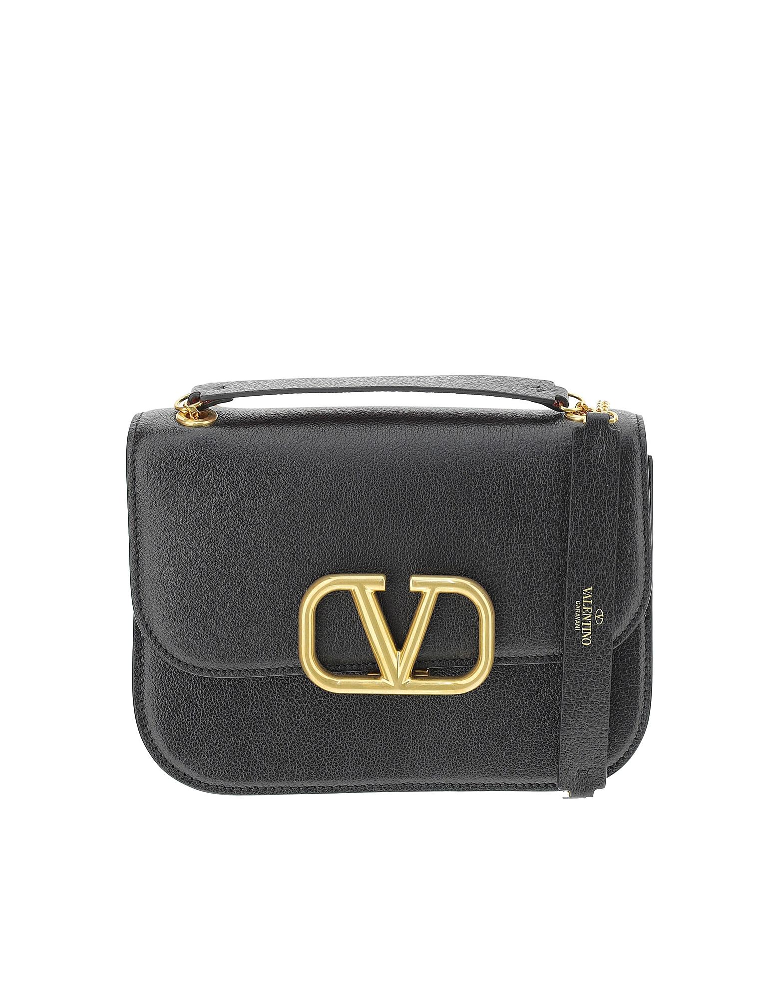 Valentino Designer Handbags, Black Leather Vlock Shoulder Bag