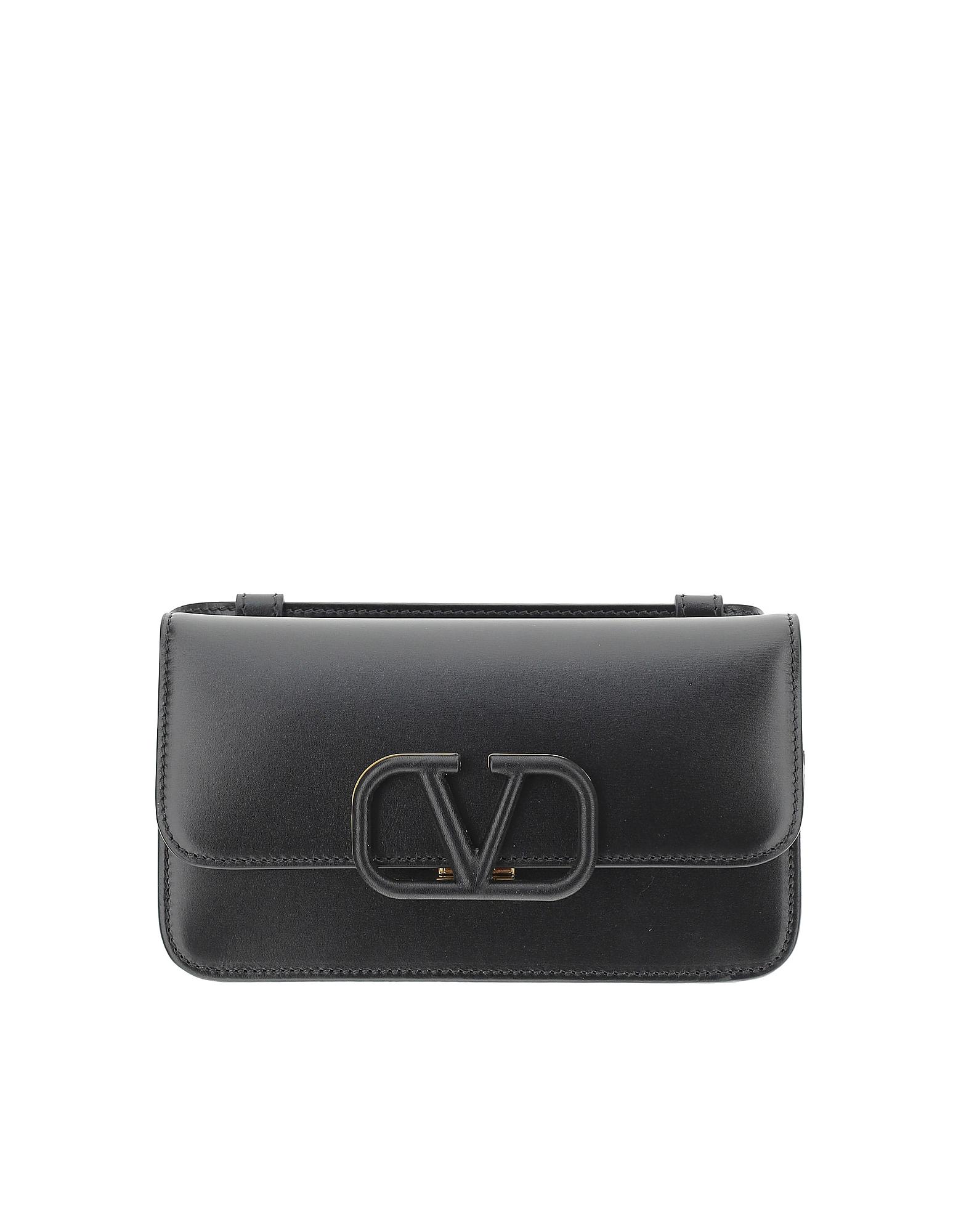 Valentino Designer Handbags, Black Leather Vsling Belt Bag