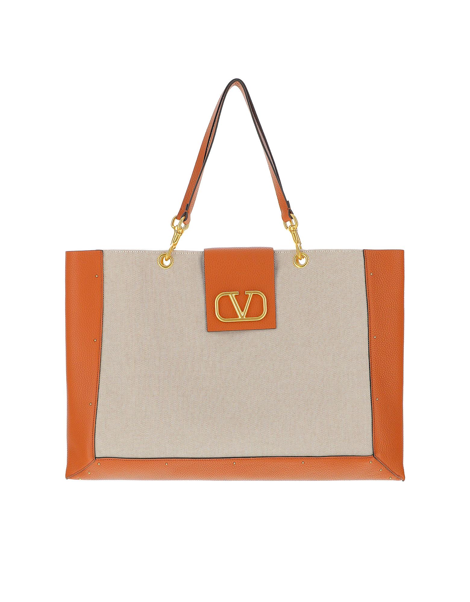 Valentino Designer Handbags, Vlogo Canvas & Leather Shopping Bag