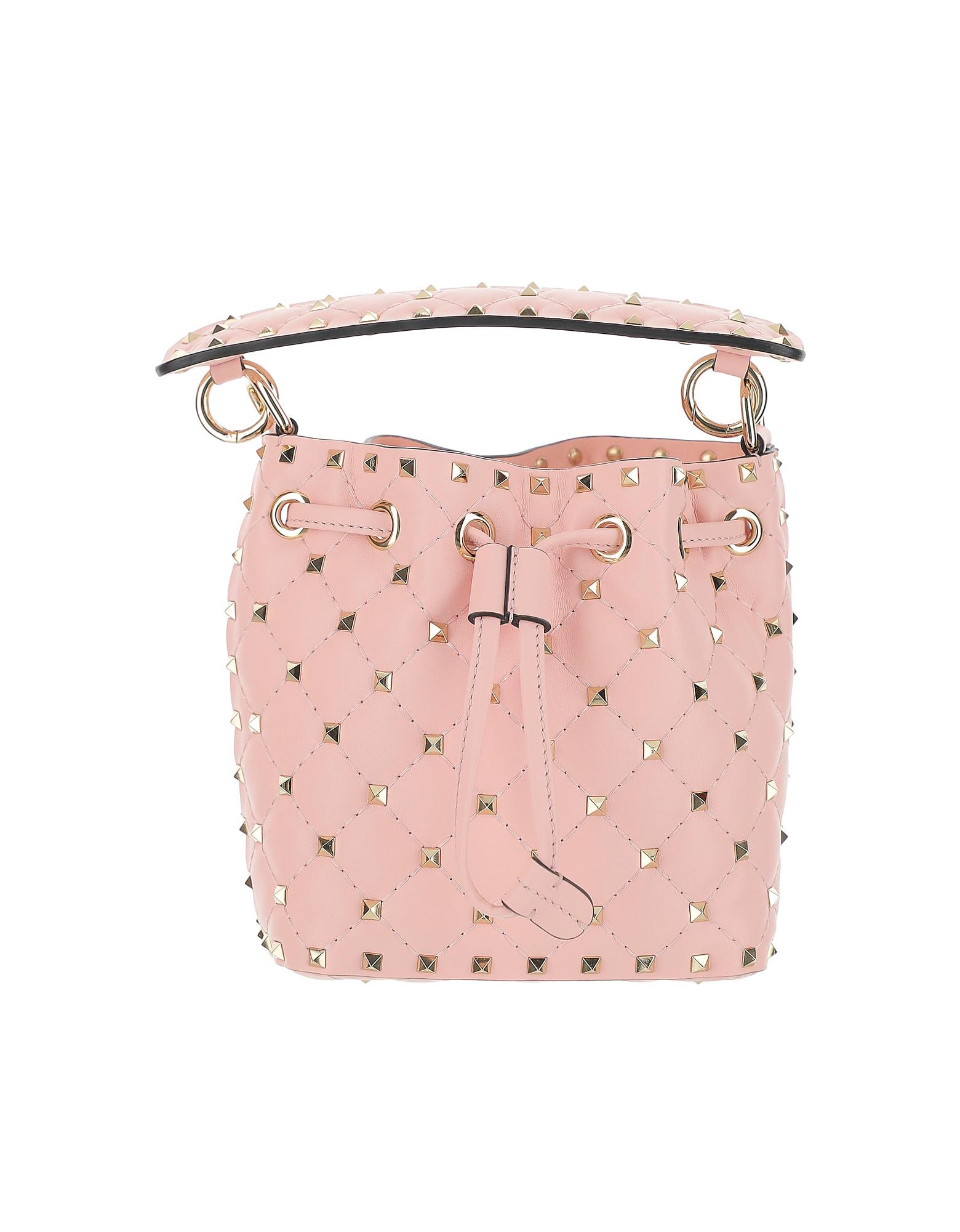 Valentino Designer Handbags, Pink Leather Mini Rockstud Bucket Bag