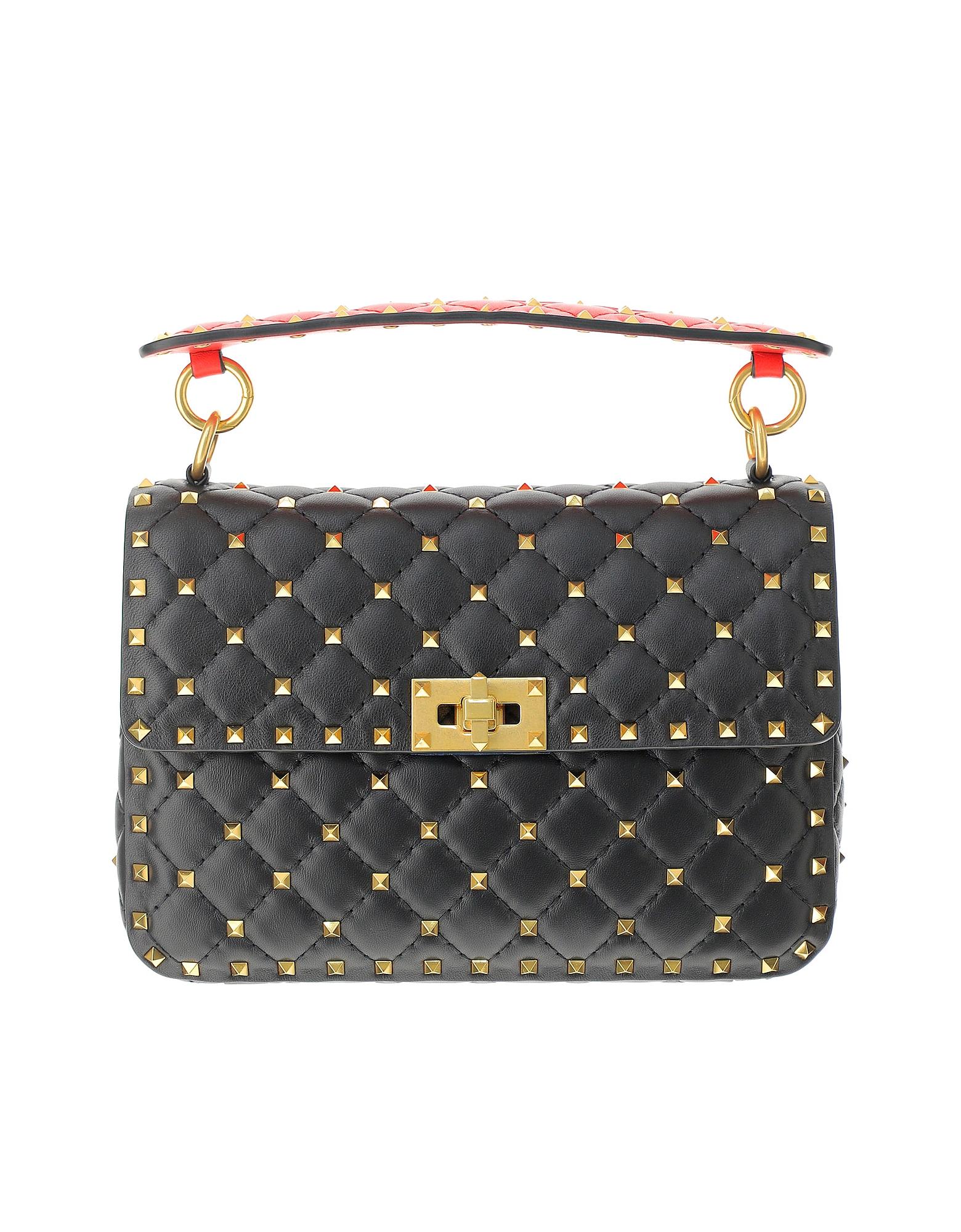Valentino Designer Handbags, Black Leather Medium Rockstud Spike Shoulder Bag