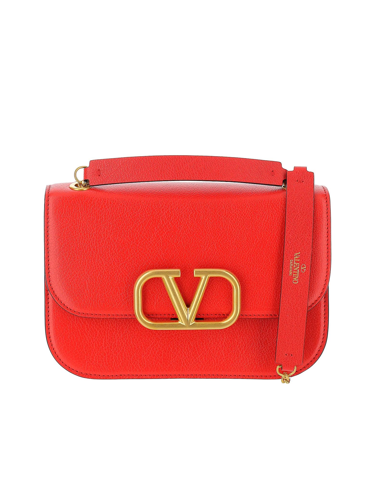Valentino Designer Handbags, Red Leather Vlock Shoulder Bag